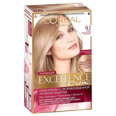 Краска для волос Excellence 9.1 Очень светло-русый пепельный