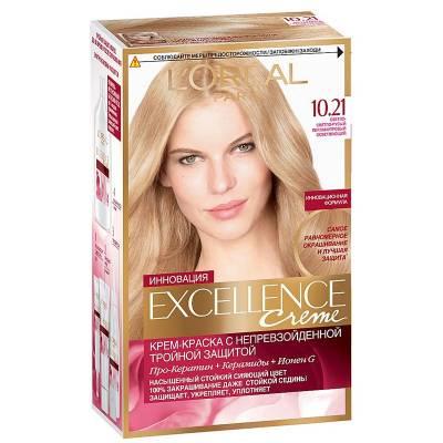 Краска для волос Excellence 10.21 Светло-светло русый перламутровый осветляющий