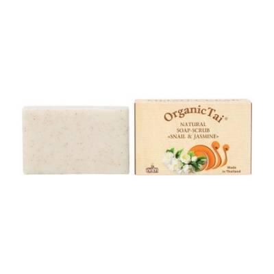 Натуральное мыло-скраб Экстракт улитки и жасмин