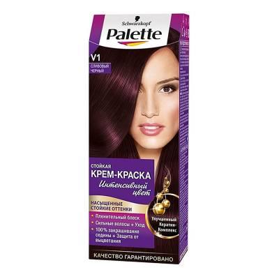 Palette Стойкая крем-краска для волос + маска-уход V1 Сливовый черный