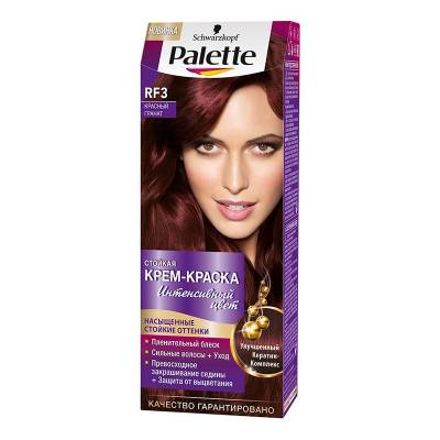 Palette Стойкая крем-краска для волос + маска-уход RF3 Красный гранат